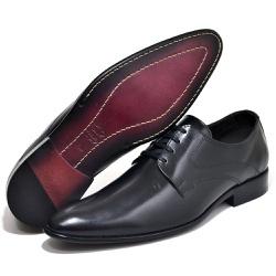 Sapato Social Executivo Classico Sola Couro Preto - Top Franca Shoes   Calçados confortáveis em Couro