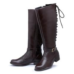 Bota Feminina Montaria Cano Alto Regulagem Panturr... - Top Franca Shoes | Calçados confortáveis em Couro