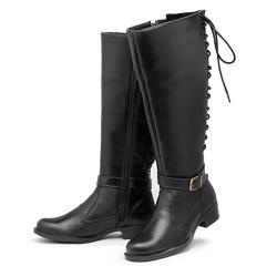 Bota Feminina Montaria Cano Alto Regulagem Panturr... - Top Franca Shoes   Calçados confortáveis em Couro