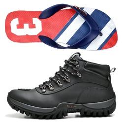 Kit Bota Motociclista Polo Culture e Chinelo Sandá... - Top Franca Shoes | Calçados confortáveis em Couro