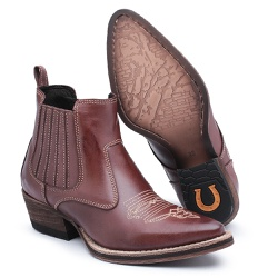 Bota Feminina em Couro Bico Fino - Top Franca Shoes | Calçados confortáveis em Couro