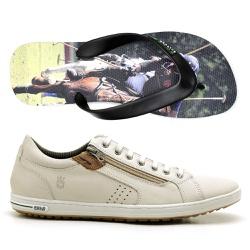 Kit Sapatenis Polo Culture + Chinelo - Top Franca Shoes | Calçados confortáveis em Couro