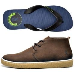 Kit Bota Polo Culture + Chinelo Cafe - Top Franca Shoes | Calçados confortáveis em Couro