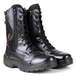 COTURNO MILITAR TATICO EM COURO PRETO 2 ZÍPERES - Top Franca Shoes | Calçados confortáveis em Couro