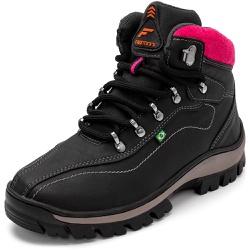 Bota Coturno Adventure Top Franca Shoes Preto Rosa - Top Franca Shoes | Calçados confortáveis em Couro