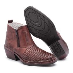 Bota Country Masculina Trice Café - Top Franca Shoes | Calçados confortáveis em Couro