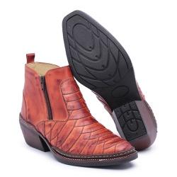 Bota Country Masculina Escama Pinhão - Top Franca Shoes | Calçados confortáveis em Couro