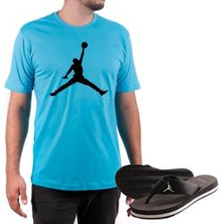 Kit Camiseta Algodão + Chinelo Jordan Azul - Top Franca Shoes | Calçados confortáveis em Couro