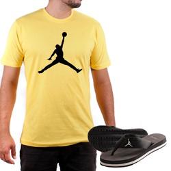 Kit Camiseta Algodão + Chinelo Jordan Amarelo - Top Franca Shoes | Calçados confortáveis em Couro