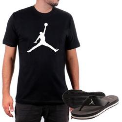 Kit Camiseta Algodão + Chinelo Jordan Preto - Top Franca Shoes | Calçados confortáveis em Couro