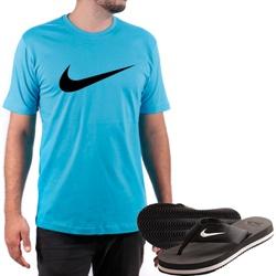 Kit Camiseta Algodão + Chinelo Nike Azul - Top Franca Shoes | Calçados confortáveis em Couro