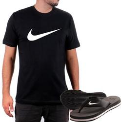Kit Camiseta Algodão + Chinelo Nike Preto - Top Franca Shoes | Calçados confortáveis em Couro