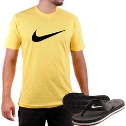 Kit Camiseta Algodão + Chinelo Nike Amarelo - Top Franca Shoes | Calçados confortáveis em Couro
