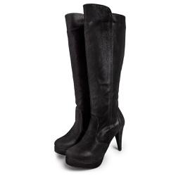 Bota Cano Alto Salto Fino Meia Pata em Nobucado Pr... - Top Franca Shoes | Calçados confortáveis em Couro