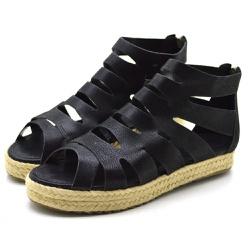 Sandália Anabela Rasteira Fechada Gladiadora em No... - Top Franca Shoes   Calçados confortáveis em Couro