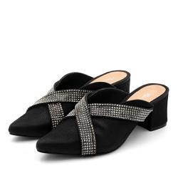 Mule Feminina Bico Fino Salto Grosso Nobucado Pret... - Top Franca Shoes | Calçados confortáveis em Couro