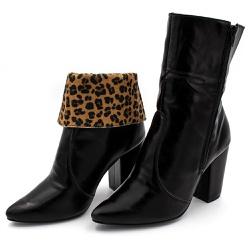 Bota Bico Fino Cano Médio Salto Grosso em Napa Pre... - Top Franca Shoes | Calçados confortáveis em Couro