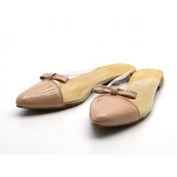 Mule Bico Fino com Laço em Napa Verniz Nude com Tr... - Top Franca Shoes | Calçados confortáveis em Couro
