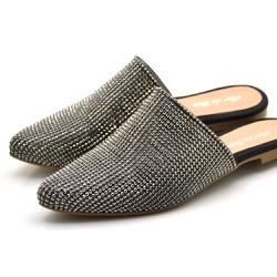 Mule Bico Fino em Manta com Stráss - Top Franca Shoes   Calçados confortáveis em Couro