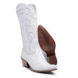Bota Feminina em Couro Branco Fidalgo - Top Franca Shoes | Calçados confortáveis em Couro