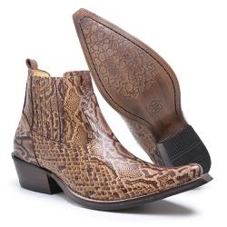 Bota Masculina Country em Couro Piton Caramelo - Top Franca Shoes | Calçados confortáveis em Couro