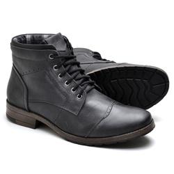 Bota Masculina em Couro Preta - Diconfort Calçados | Calçados confortáveis e anatômicos