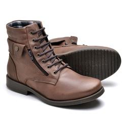 Bota Masculina em Couro Style Marrom - Top Franca Shoes | Calçados confortáveis em Couro