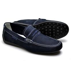 Mocassim Masculino em Couro Azul Marinho - Top Franca Shoes | Calçados confortáveis em Couro