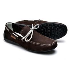 Mocassim Docsider Sapatilha Drive Masculino Cafe - Top Franca Shoes | Calçados confortáveis em Couro