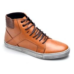 Sapatênis Cano Alto Whisky - Top Franca Shoes | Calçados confortáveis em Couro
