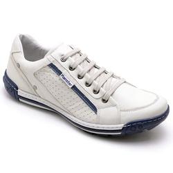 Sapatênis Casual Masculino Gelo e Azul - Top Franca Shoes | Calçados confortáveis em Couro