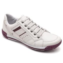 Sapatênis Casual Masculino Gelo e bordô - Top Franca Shoes | Calçados confortáveis em Couro