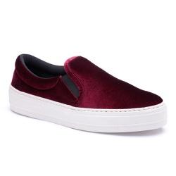 Slip On feminino Vinho - Top Franca Shoes | Calçados confortáveis em Couro