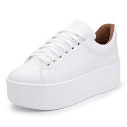 Sapatenis Feminino Top Franca Shoes Sola Alta Bran... - Top Franca Shoes | Calçados confortáveis em Couro