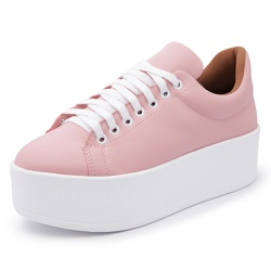 Sapatenis Feminino Top Franca Shoes Sola Alta Rosa - Top Franca Shoes | Calçados confortáveis em Couro
