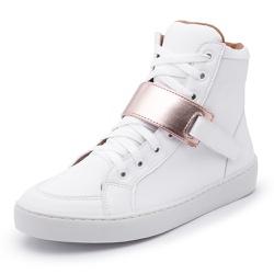 Sapatênis Feminino Cano Alto Branco / Dourado - Diconfort Calçados | Calçados confortáveis e anatômicos