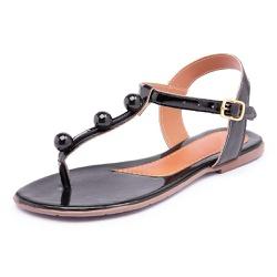 Sandália Feminina Rasteirinha Verniz Preto - Top Franca Shoes | Calçados confortáveis em Couro
