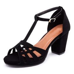 Sandália Feminina Meia Pata Salto Alto Grosso Pret... - Top Franca Shoes | Calçados confortáveis em Couro
