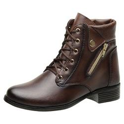 Bota Coturno Feminino Top Franca Shoes Capuccino - Top Franca Shoes | Calçados confortáveis em Couro