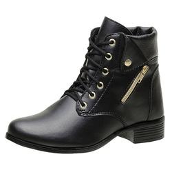 Bota Coturno Feminino Top Franca Shoes Preto - Top Franca Shoes | Calçados confortáveis em Couro