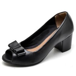 Sapato Social Feminino Peep Toe Work Preto - Top Franca Shoes | Calçados confortáveis em Couro