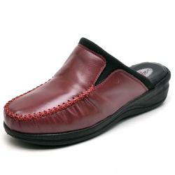Babuche Sandália Tamanco Conforto Anatomico Ortopé... - Top Franca Shoes | Calçados confortáveis em Couro