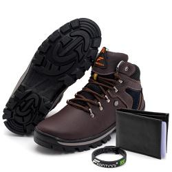 Kit Bota Coturno Adventure + Carteira + Pulseira C... - Top Franca Shoes | Calçados confortáveis em Couro