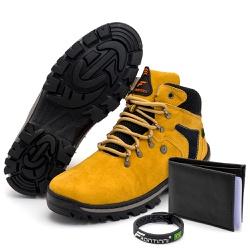 Kit Bota Coturno Adventure + Carteira + Pulseira M... - Top Franca Shoes | Calçados confortáveis em Couro