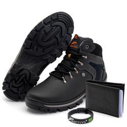 Kit Bota Coturno Adventure + Carteira + Pulseira P... - Top Franca Shoes | Calçados confortáveis em Couro