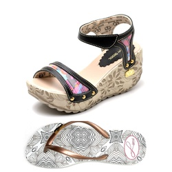 Kit Sandália Anabela e Chinelo Betina Beker Preto - Top Franca Shoes | Calçados confortáveis em Couro