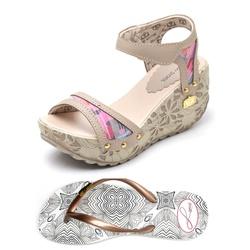 Kit Sandália Anabela e Chinelo Betina Beker Taupe - Top Franca Shoes   Calçados confortáveis em Couro