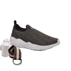 Kit Tênis Esporte Fitnes Café + Cinto e Meia - Top Franca Shoes | Calçados confortáveis em Couro