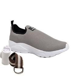 Kit Tênis Esporte Fitnes Cinza + Cinto e Meia - Top Franca Shoes | Calçados confortáveis em Couro