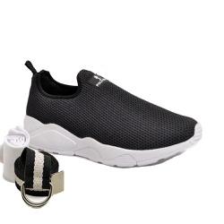 Kit Tênis Esporte Fitnes Preto + Cinto e Meia - Top Franca Shoes | Calçados confortáveis em Couro